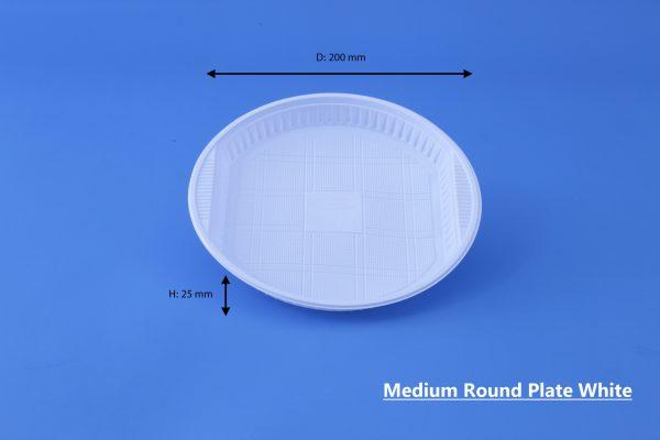 Medium Round Plate White Ghan Plast Plate No 22