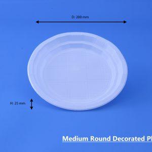 Medium Round Decorated Plate White GhanPlast Plate No 22