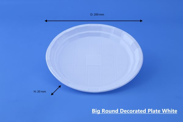 Big Round Decorated Plate White GhanPlast Plate No 26
