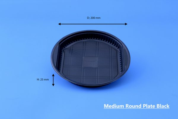 Medium Round Plate Black GhanPlast Plate No 22