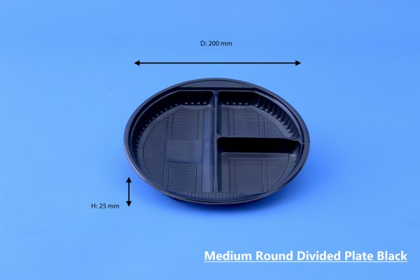Medium Round Divided Plate Black GhanPlast Plate No 22